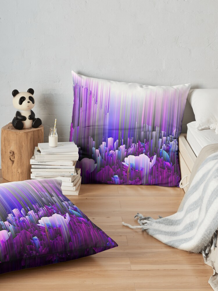 Alternate view of Rain of Lavender - Glitch Abstract Pixel Art Floor Pillow