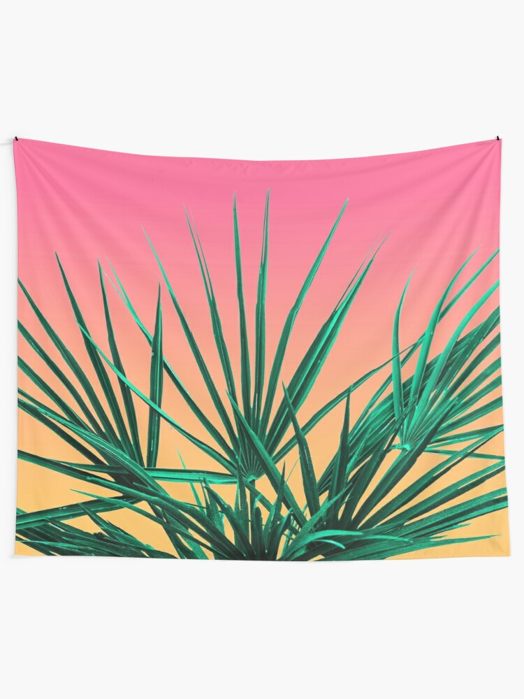 Alternate view of Vaporwave Palm Life - Miami Sunset Tapestry