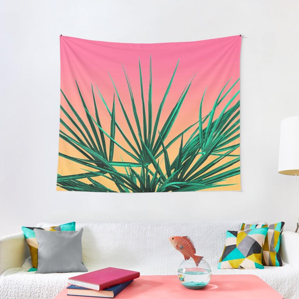 Vaporwave Palm Life - Miami Sunset Tapestry