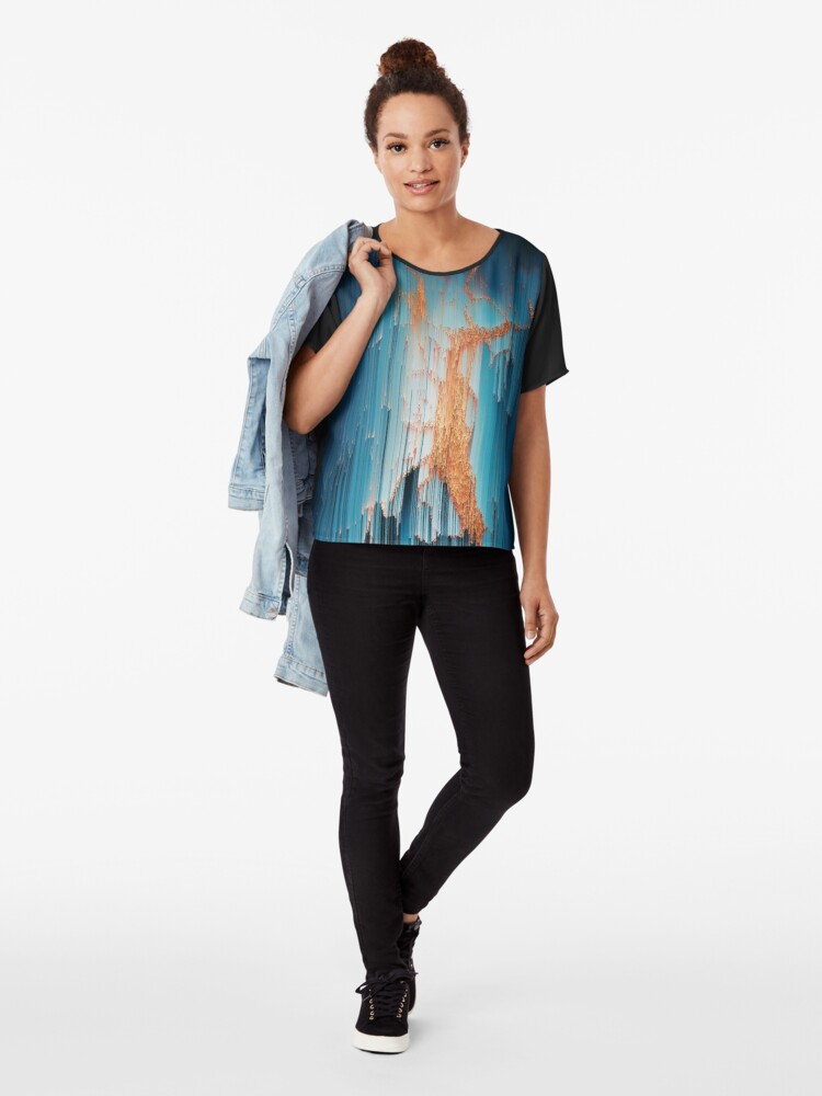 Alternate view of Glitch in the Dark - Abstract Pixel Art Chiffon Top
