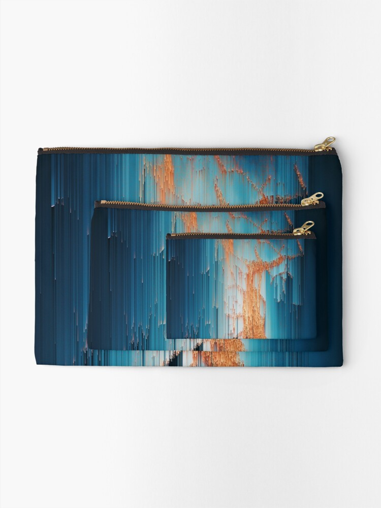 Alternate view of Glitch in the Dark - Abstract Pixel Art Zipper Pouch