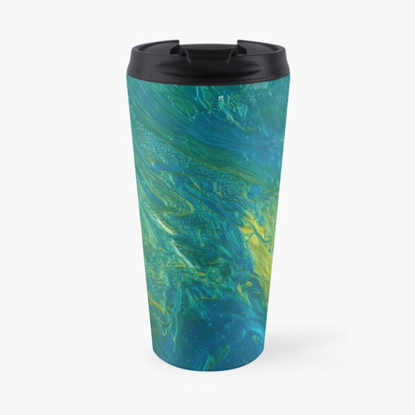 Green & Teal Abstract Travel Mug