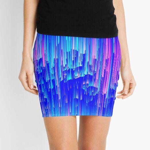 Neon Rain - Digital Abstract Mini Skirt