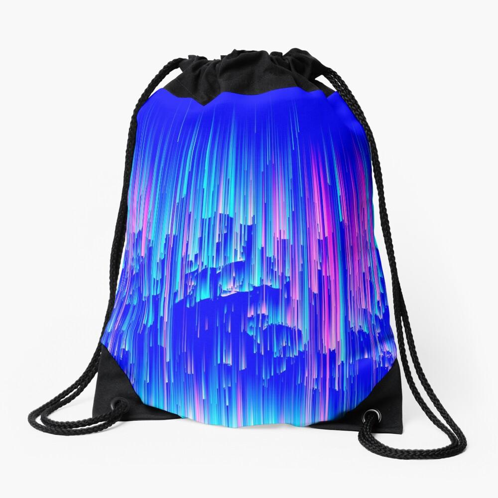 Neon Rain - Digital Abstract Drawstring Bag