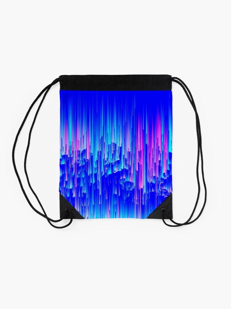 Alternate view of Neon Rain - Digital Abstract Drawstring Bag