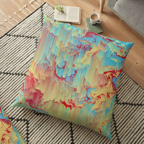 Vivid Storm - An Abstract Glitch Piece Floor Pillow