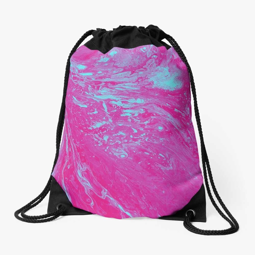 Flood of Pink & Turquoise - An Abstract Piece Drawstring Bag