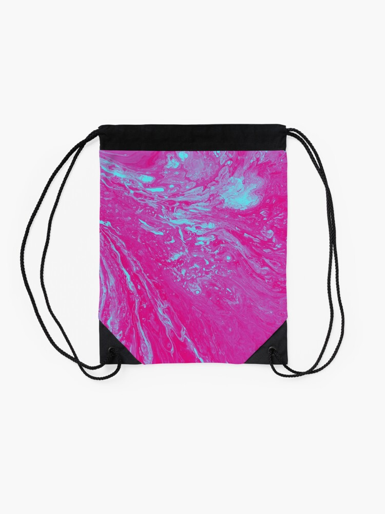 Alternate view of Flood of Pink & Turquoise - An Abstract Piece Drawstring Bag