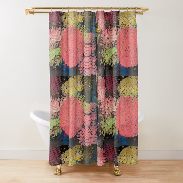 Coral Snowball Shower Curtain