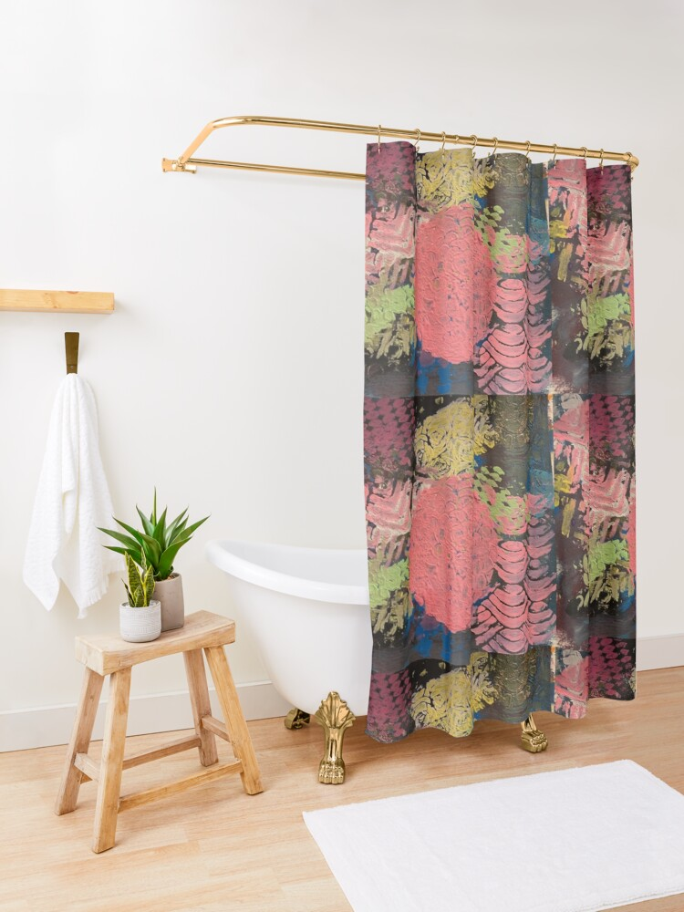Alternate view of Coral Snowball Shower Curtain