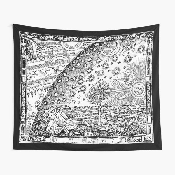 Cosmic Mystery. Flammarion wood engraving.  Tapestry