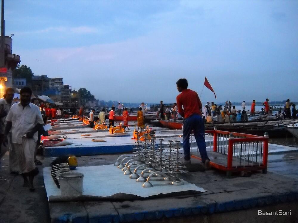 Ready for Evening Worship ( Varanasi,INDIA) by BasantSoni