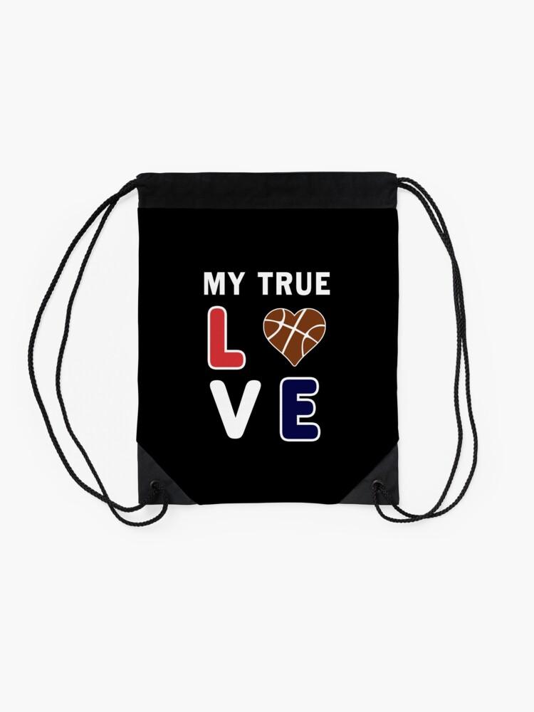 Alternate view of Bball My True Love Practice Hoops Bballer Coach. Drawstring Bag