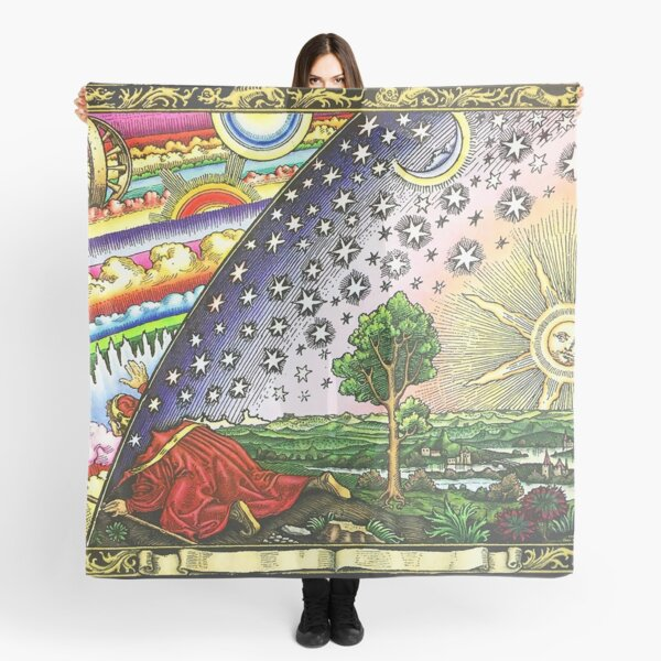 COSMIC MYSTERY. COLOURED. Flammarion wood engraving. Scarf