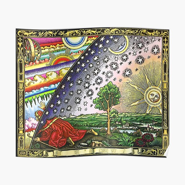COSMIC MYSTERY. COLOURED. Flammarion wood engraving. Poster