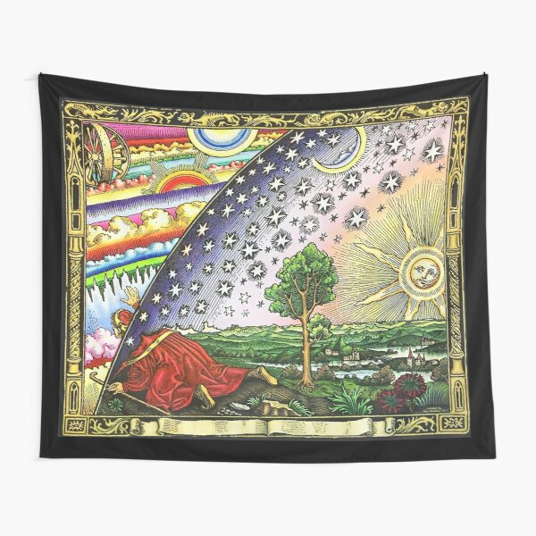 COSMIC MYSTERY. COLOURED. Flammarion wood engraving. Tapestry