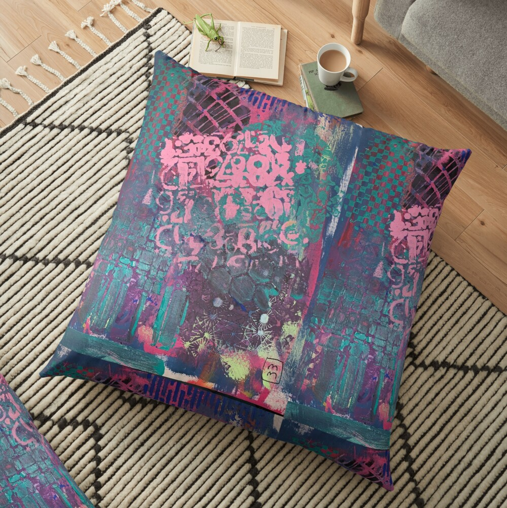 Grungy Pink Princess   Floor Pillow