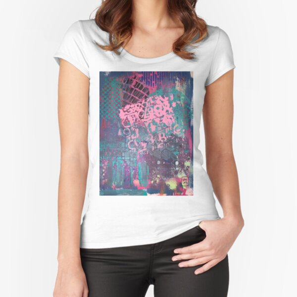 Grungy Pink Princess   Fitted Scoop T-Shirt