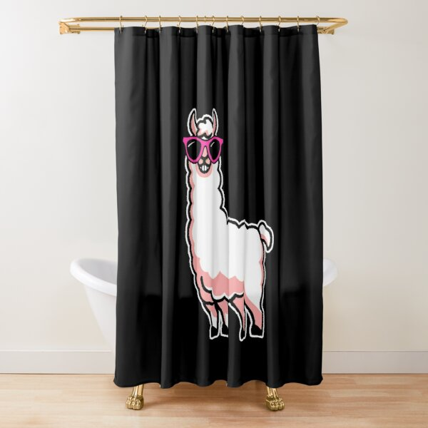 Funny Alpaca Shower Curtain Cool Llama In BLACK Sunglasses W BLUE Background Art