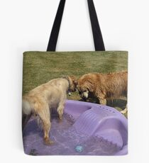 Grr! Back off Lance! This is MY TIME for the pool! Tote Bag