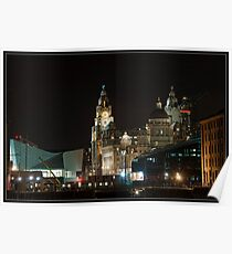 Liver birds Liverpool at night Poster