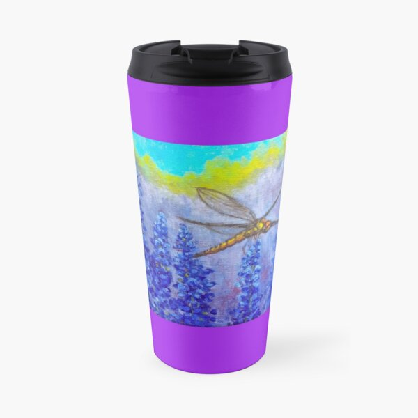 Dragonfly in the purple wildflowers impressionist art by American Artist Hilary J. England Travel Mug