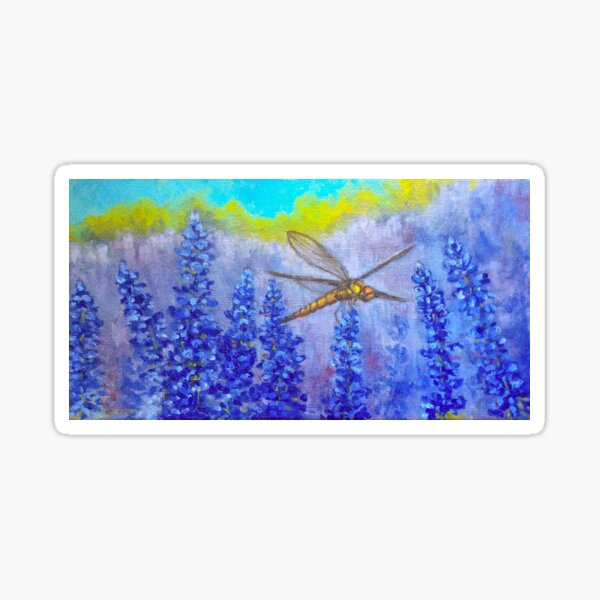 Dragonfly in the purple wildflowers impressionist art by American Artist Hilary J. England Sticker