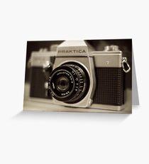 praktica SLR with Russian Industar 50mm lens Greeting Card