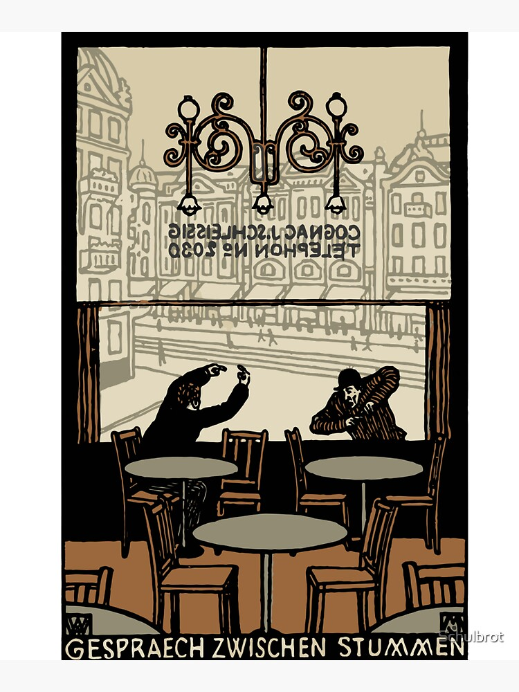 Two gesticulating men, in and in front of a Viennese coffee house, Art Nouveau, by Schulbrot