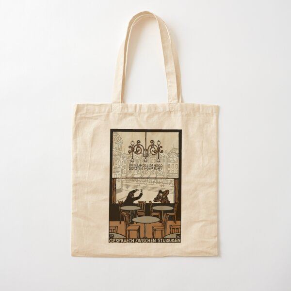 Two gesticulating men, in and in front of a Viennese coffee house, Art Nouveau, Cotton Tote Bag