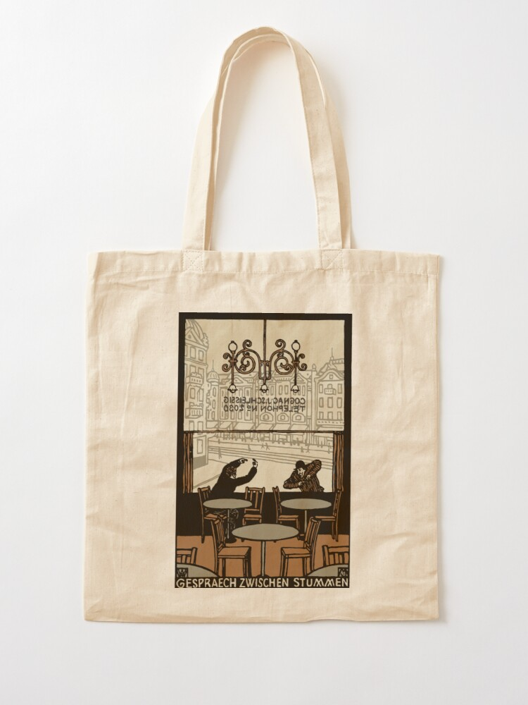 Alternate view of Two gesticulating men, in and in front of a Viennese coffee house, Art Nouveau, Tote Bag