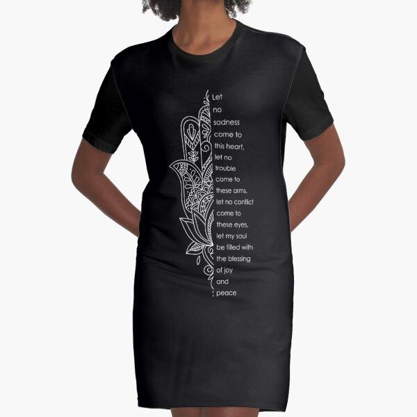 Beautiful Fatima hand with the Prayer (crisp, white drawing) Graphic T-Shirt Dress