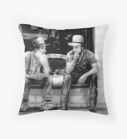 Amish Elder sharing Words of Wisdom Throw Pillow