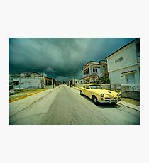 Yellow storm car  Photographic Print