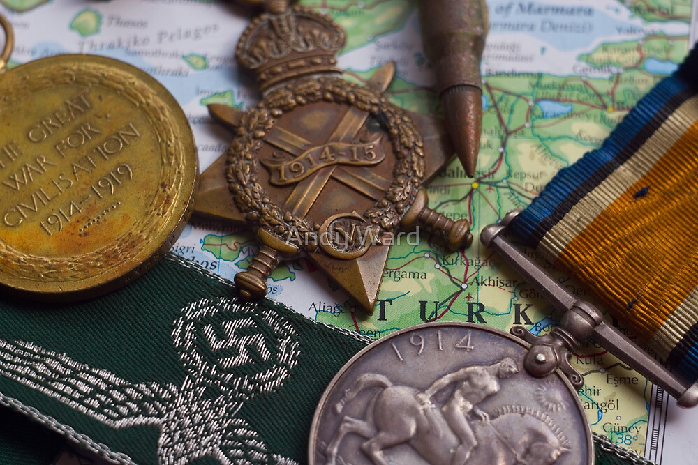 WW1 medals over atlas by harper white
