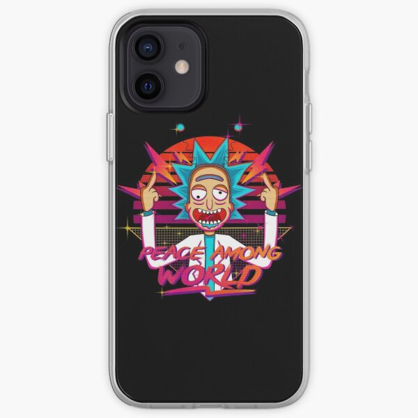 peace among world rick and morty retro  iPhone Soft Case