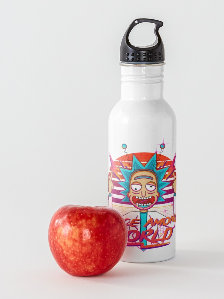 Alternate view of peace among world rick and morty retro  Water Bottle