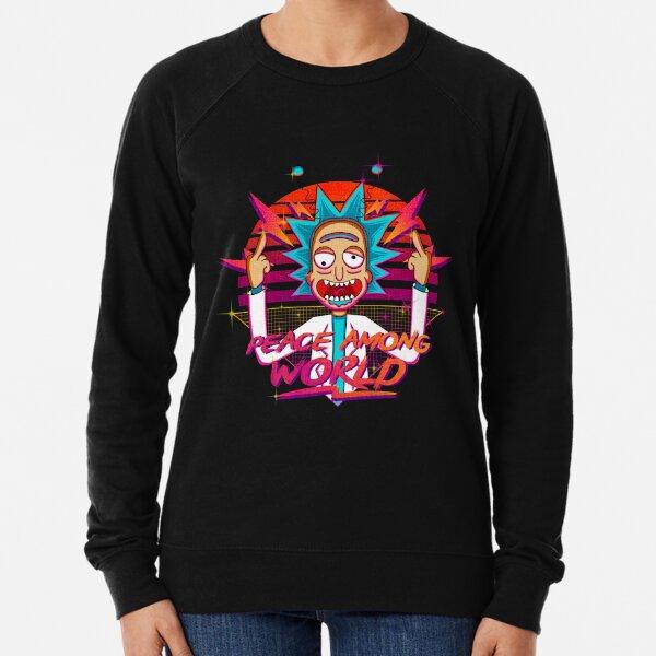 peace among world rick and morty retro  Lightweight Sweatshirt