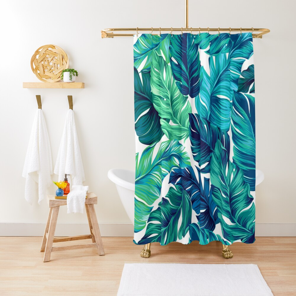turquoise and green tropical leaves Shower Curtain