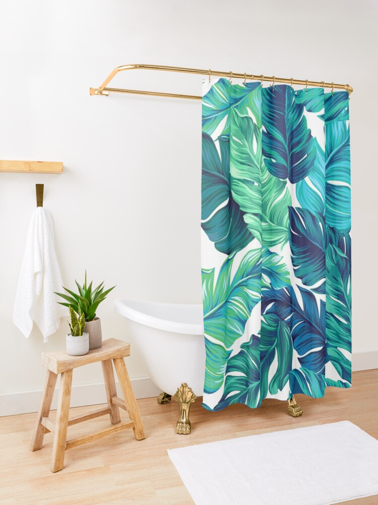 Alternate view of turquoise and green tropical leaves Shower Curtain