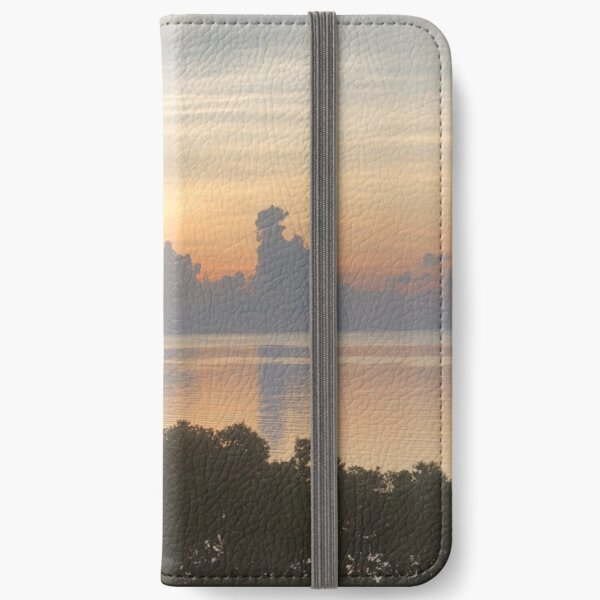 Yellow Grey and Amber Tones Beautiful Sunrise over water at Florida Keys Photography, Nature iPhone Wallet