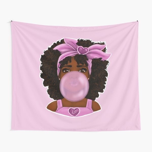 Bubble Gum- Little Black Girl Portrait Tapestry