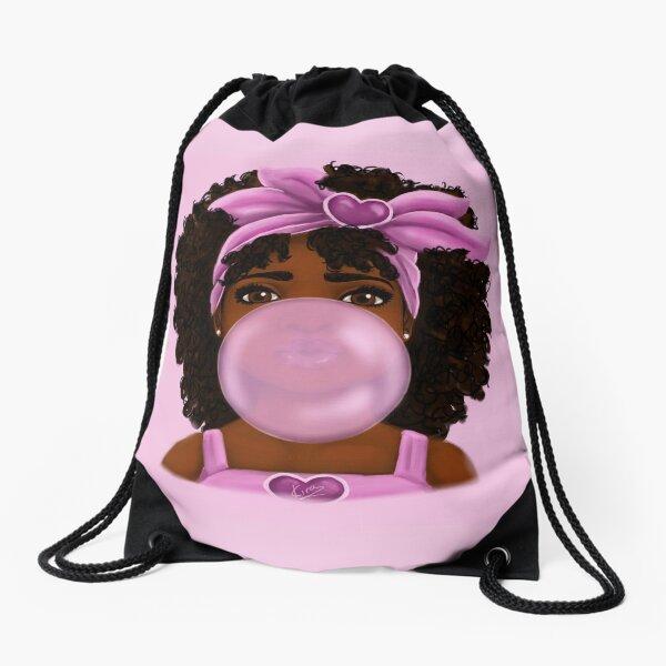 Bubble Gum- Little Black Girl Portrait Drawstring Bag