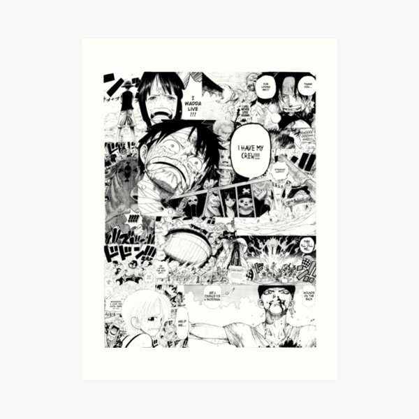 One Piece Manga Collage Lámina artística