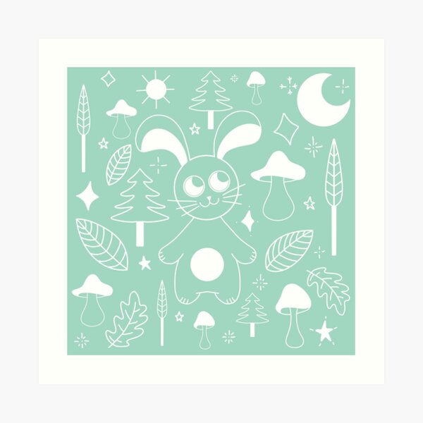Illustration Rabbit in the woods / forest - GREEN Art Print