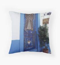 Amorgos Blues Throw Pillow