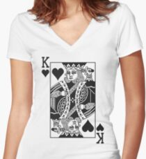 King of Hearts - Black Women's Fitted V-Neck T-Shirt
