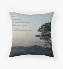 Morning at the fair, with poem Throw Pillow