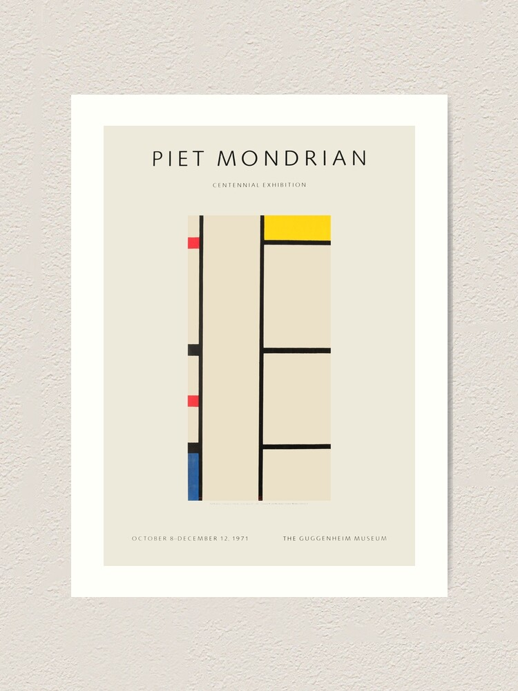 Alternate view of Piet Mondrian - Exhibition poster for the Guggenheim Museum, New York, 1971 Art Print