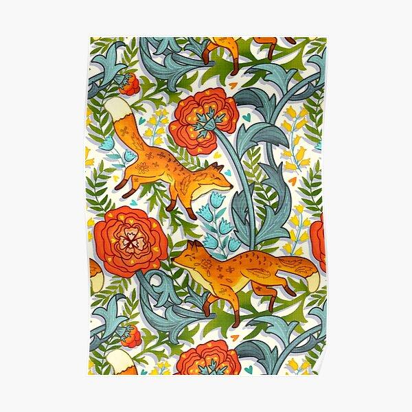 Art Nouveau Foxes  Poster